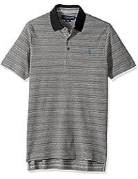 Men's Classic Fit Striped Short Sleeve Pique Polo Shirt