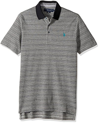 U.S. Polo Assn. Men's Classic Fit Striped Short Sleeve Pique Polo Shirt, 8344-White Winter, M