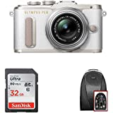 Olympus PEN E-PL8 Mirrorless Camera w/14-42mm IIR Lens (White) + 32GB SD Card & Camera Bag - Dads & Grads Promotional Bundle