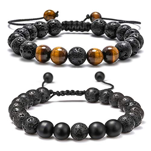 M Mooham Lava Rock Bracelet - 8Mm Lava Rock Bead Anxiety Bracelet, Men Women Stress Relief Yoga Beads Adjustable Aromatherapy Essential Oil Diffuser Healing Bracelets, C-Volcanic Matte&Tiger
