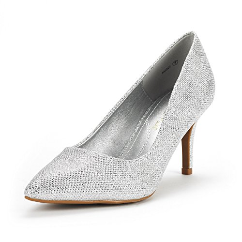 DREAM PAIRS Women's KUCCI Silver Glitter Classic Fashion Pointed Toe High Heel Dress Pumps Shoes Size 9 M US