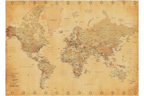 GIANT PAPER Map Of The World (Vintage Style) Poster Measures a massive 55 x 39 inches (140 x 100 cm) by Posters UK