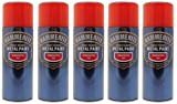 5x Hammerite Smooth Red Metal Spray Paint 400ml x5 Aerosol Tins by Hammerite