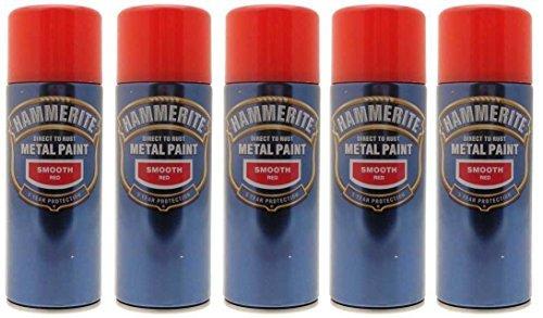 Hammerite Aerosol (5x Hammerite Smooth Red Metal Spray Paint 400ml x5 Aerosol Tins by Hammerite)