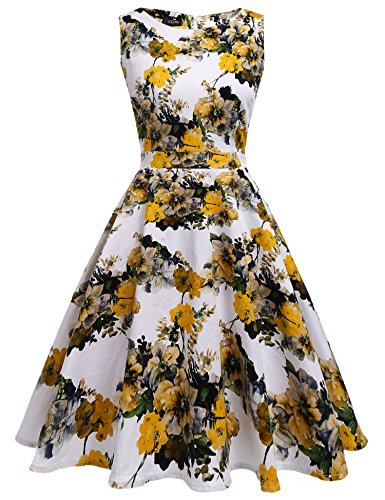 Young Lady Dress - YOUNG RONG Women's 1950s Cap Sleeve Vintage Dress Floral Party Dress,Yellow,Small