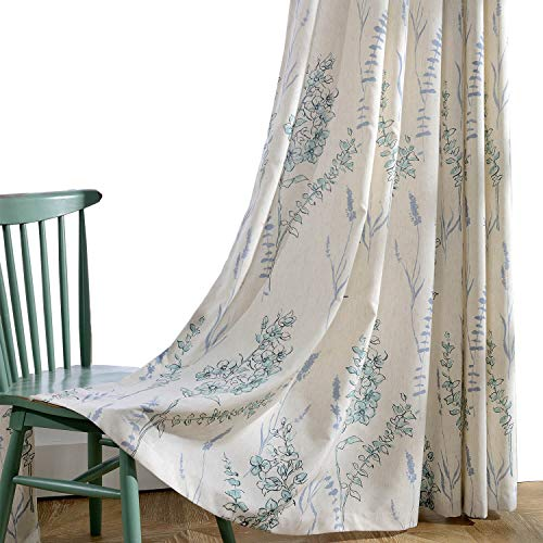 KoTing Blue Teal Flower Linen Curtains 1 Panel Teal Sage Short Blackout Lined Curtains Drapes Grommet 42W by 96L Inch