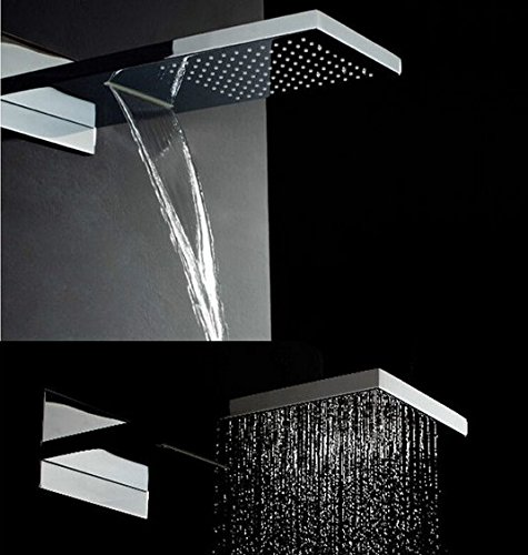 GOWE Luxury Fancy Waterfall Rain Shower Faucet Sets Double Functions with the Hand Shower Chrome Finished by Gowe (Image #2)