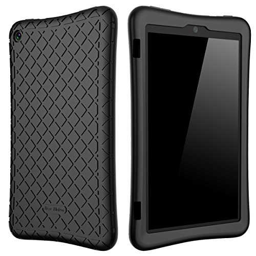 Bear Motion Silicone Case for Fire HD 8 2017 - Anti Slip Shockproof Light Weight Kids Friendly Protective Case for All-New Fire HD 8 Tablet with Alexa (7th Gen 2017 Model) (Black)