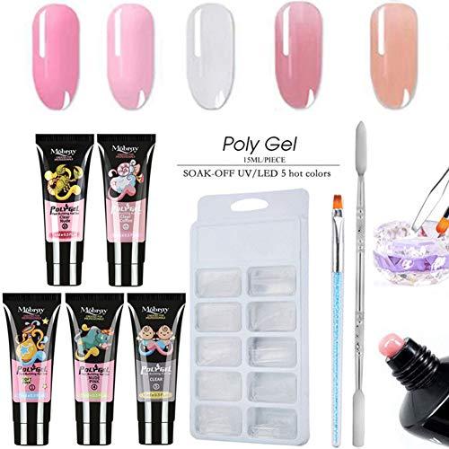 Professional Poly Nail Gel Kit, Nail Builder UV Gel Extension Nail, Come With Nail Brush, Model Nail Tips and Nail Scraper