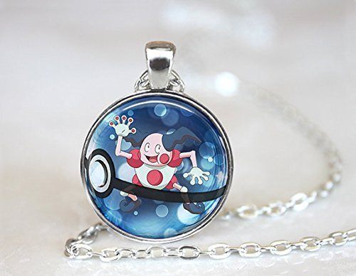 [Mr Mime Pokeball Pokemon Necklace ,Gift Idea Gamer Gear Cosplay] (Mime For Halloween)