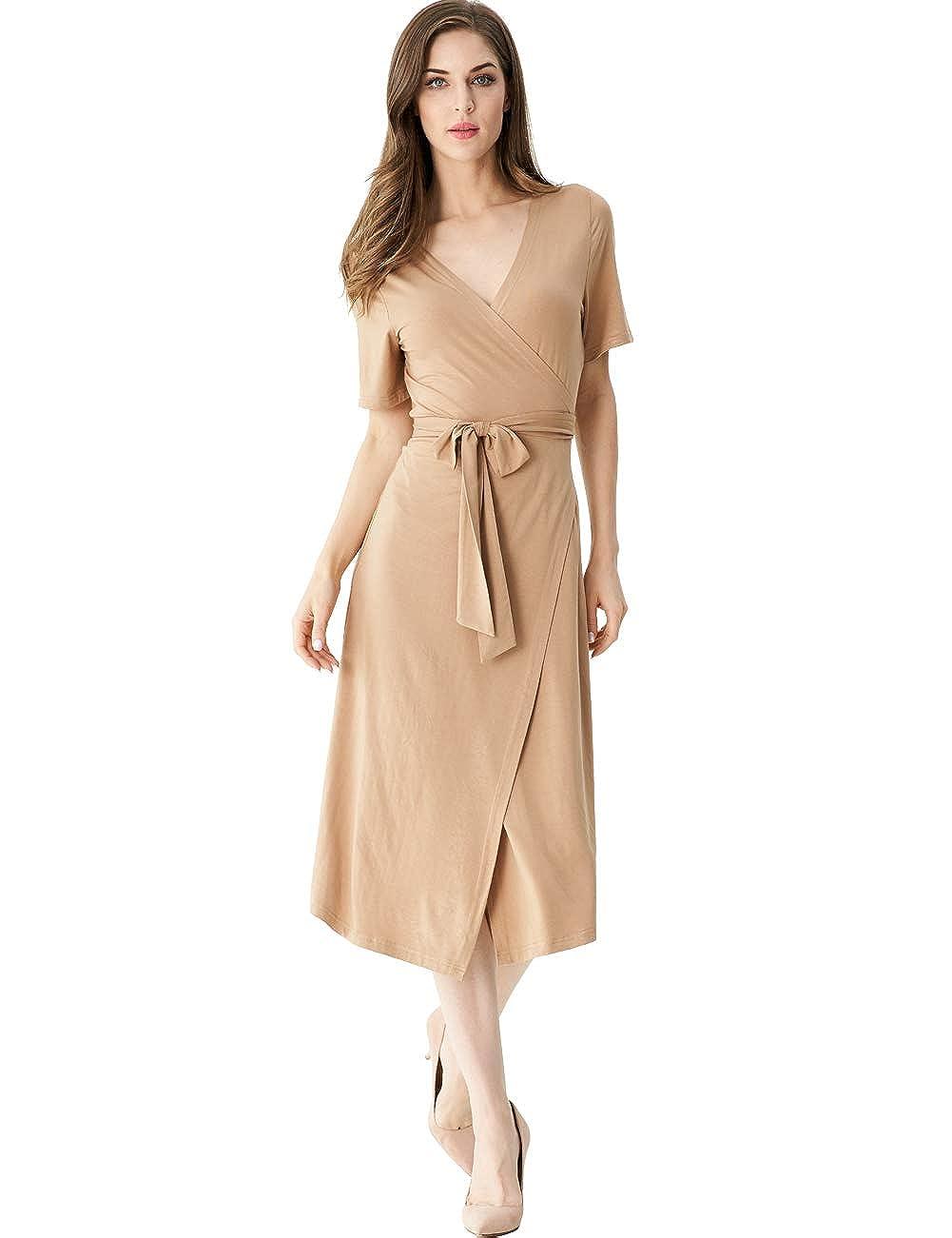 5e241e66c8 Khaki Melynnco Women's Short Sleeve Sexy VNeck Solid Split A line Casual Wrap  Dress
