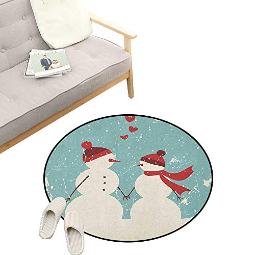 """Christmas Non-Slip Round Rug ,Snowman and Woman Romantic Couple in Love Valentines Holding Hands Grunge, Washable Living Room Bedroom Kids 47"""" inch Seafoam Red Cream"""