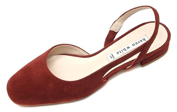 e7a20b3b21cb0 Amazon.com: KAREN WHITE Women's Brick Red Mary Jane Flats Pointed ...