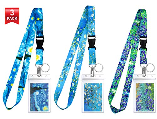 3-Pack Assorted Designs Lanyards with ID Holder & Key Ring for Keys, Cruise Ship Card, Teachers, Nurses. Waterproof Clear ID Badge Case. Essential Cruise Ship & Work Accessories. Van Gogh Collection. (Van Designs Ships Gogh)