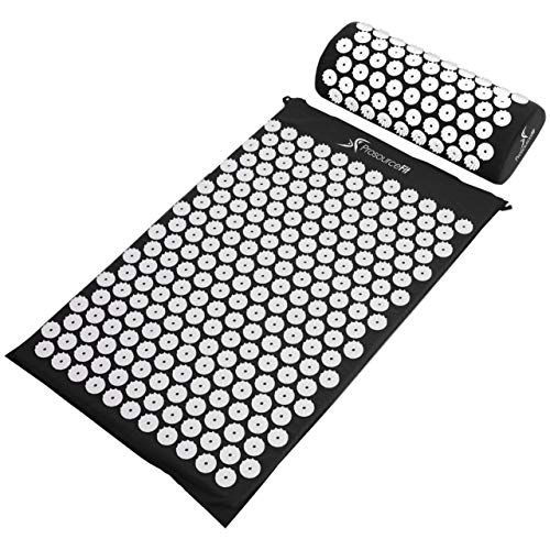 ProSource Acupressure Mat and Pillow Set for Back/Neck Pain Relief and Muscle...