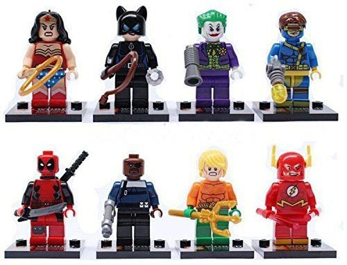 8 Pcs /1Set Age +6 Size 4.5 cm. Super Heroes Dead pool, Joker, Flash, Cat Women, The Smasher And Friends Minifigures Building Blocks Figures Package Without Original box Set1