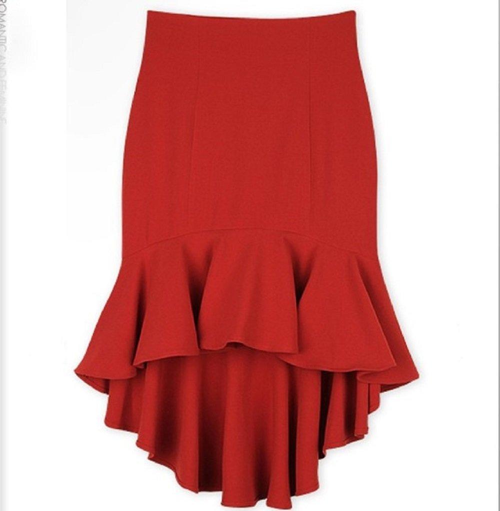 Women's Irregular Hem Fishtail Pencil Slim Pleated Skirt (Asian L, Red)