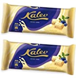 White Chocolate with Rice Crisp and Blueberry (95g)- Estonian Brand: Kalev [Pack of 2]