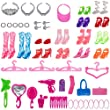 Total 56pcs - 7 Pack Barbie Clothes Dresses Accessory Party Grown Outfits Barbie Fashionista + 49pcs Barbie Accessories Shoes Bags Necklace Mirror Hanger Tableware for Barbie Doll Girl Birthday Gift by Augur