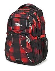 High Sierra 53665-4938 Swerve Backpack, Buffalo Plaid/Black/Crimson, International Carry-On