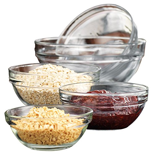 Checkout Set of 5 Clear Glass Prep Bowls Assorted Sizes saleoff