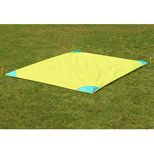 ZDTXKJ Outdoor Picnic Blanket Water-Resistant Pocket Camping mat Oxford Cloth Convenient Folding Lawn mat,Yellow,140x220cm