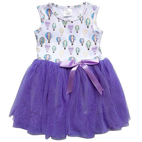 So Sydney Little Girls Tank Top Style Chiffon Tulle Princess Dress Tutu Sundress (XL (6), Hot Air Balloon Lavender) (Balloon Skirt Dress)