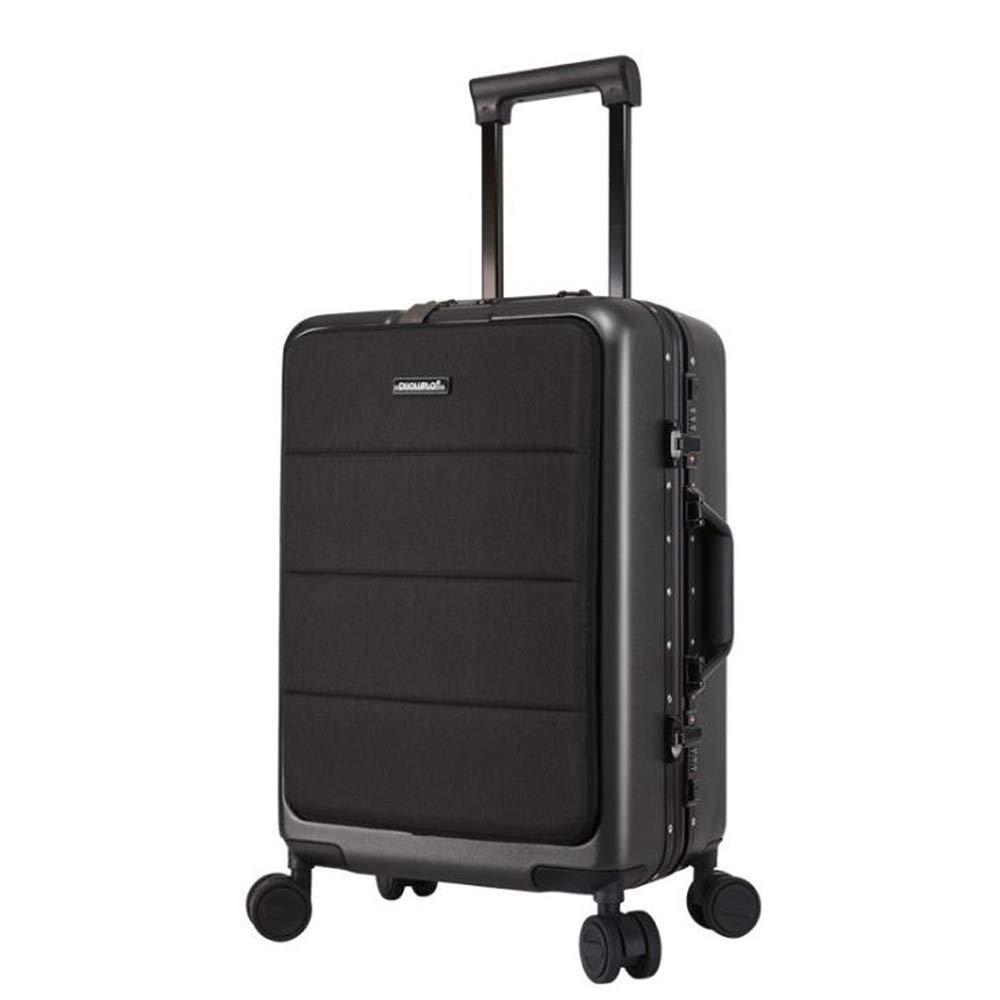スーツケーススーパー軽量pcビジネスミュートトロリーケースユニバーサルホイール便利な旅行荷物,耐摩耗性、盗難防止、雷保護、耐衝撃36*24*58cm B07SVYGRNL Dark gray
