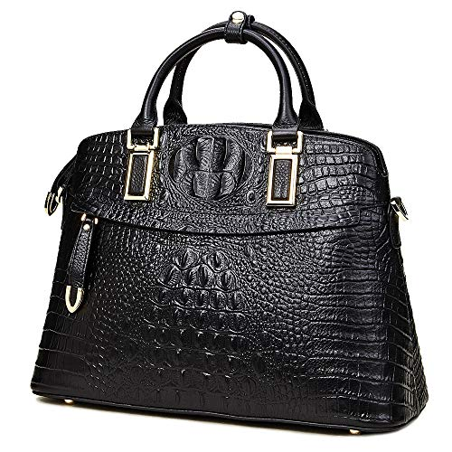 Women Genuine Leather Top-handle Handbags【Full-grain Cowhide】Embossed Crocodile Satchels Shoulder Bags