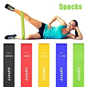 #LightningDeal 65% claimed: Letsfit Resistance Loop Bands, Resistance Exercise Bands for Home Fitness, Stretching, Strength Training, Physical Therapy, Natural Latex Workout Bands with Exercise Guide and Carry Bag, Set of 5