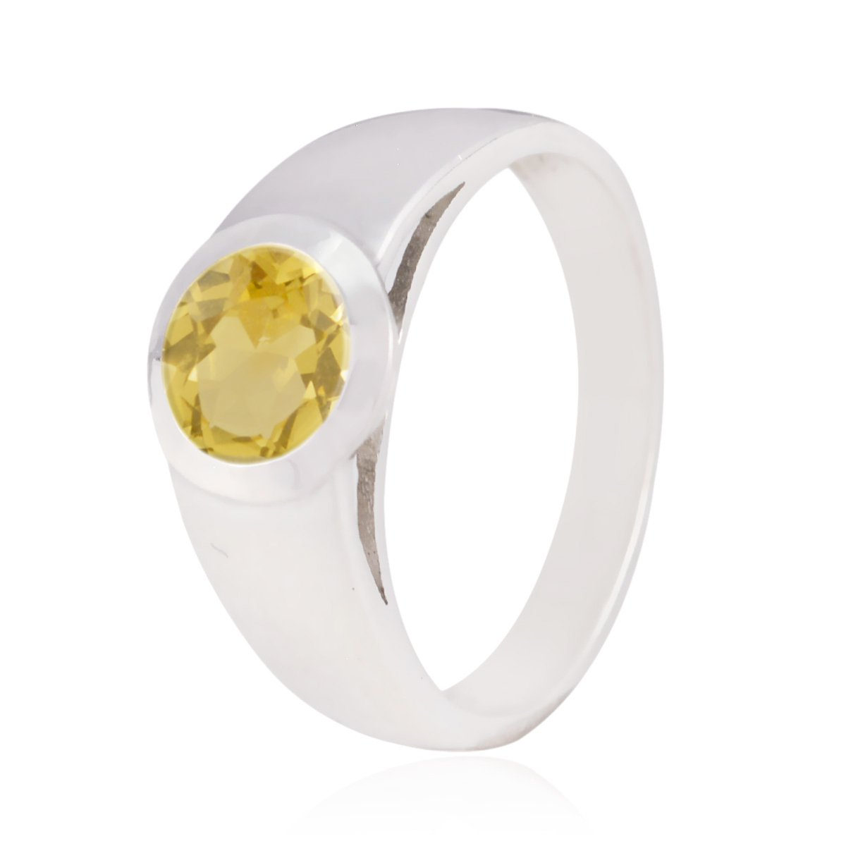 925 Silver Yellow Citrine Genuine Gems Ring Girls Jewelry Greatest Seller Gift for Husband Rings Genuine Gems Round Faceted Citrine Rings