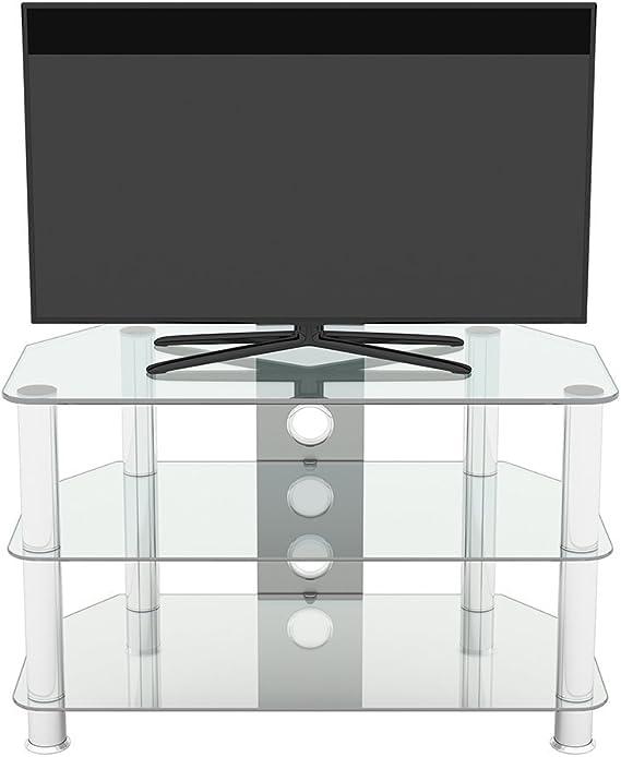 King Mueble TV Cristal Transprente,3 Estantes, Televisores Curvos LCD LED OLED Hasta de 42, Ancho 80 cm: Amazon.es: Electrónica