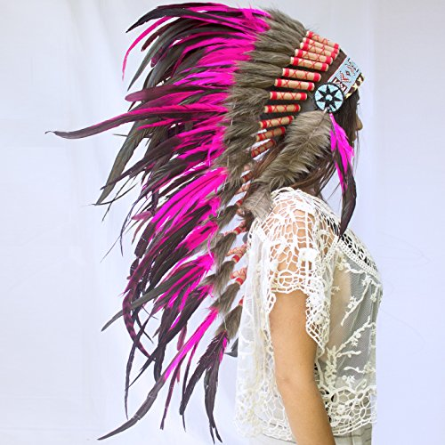 Long Feather Headdress- Native American Indian Inspired- Handmade by Artisan Halloween Costume for Men Women - Real Feathers - Pink Rooster ()