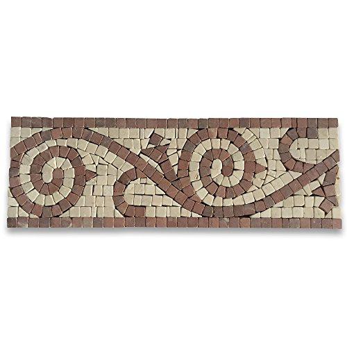 Garden Rojo 4x12 Marble Mosaic Border Listello Tile Tumbled (Alicante Marble Rojo)