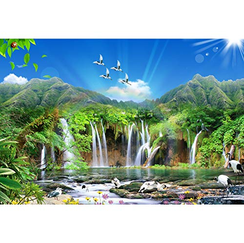 Leowefowa 10x8ft Vinyl Spring Mountain Waterfall Backdrops Stream Water Red-Crowned Cranes Blue Sky White Clouds Backgrouds for Photography Nature Landscape Wedding Tourism Portraits Studio -