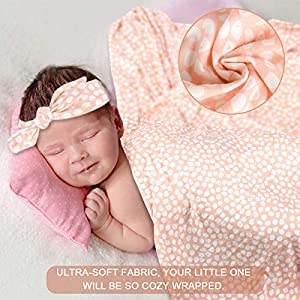 NOZAAM Infant Receiving Blanket, Nursery Swaddling Blankets Gift for Newborn Baby Girls Boys Pink