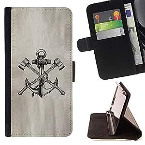 BullDog Case - FOR/Samsung Galaxy S3 Mini I8190Samsung Galaxy S3 Mini I8190 / - / axe anchor paper sketch pencil ink tattoo /- Monedero de cuero de la PU Llevar cubierta de la caja con el ID Credit Card Slots Flip funda de cuer