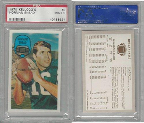 1970 Kelloggs Football, 9 Norman Snead, Eagles, PSA 9 Mint (Football 1970 Kelloggs)
