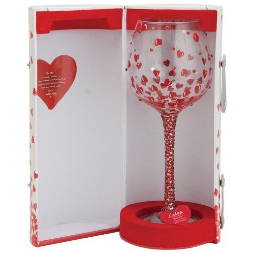 Lolita Hand Painted Wine Glass with Red Hearts and Rhinestones
