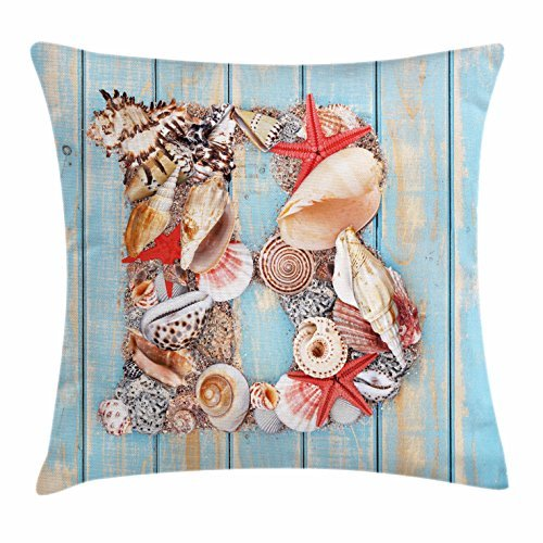 TINA-R Letter B Throw Pillow Cushion Cover, Alphabet ABC Ocean Theme Elements Starfish Seashell Pale Color, Decorative Square Pillow Case, 18 X 18 Inches, Pale Blue Ivory Dark Coral
