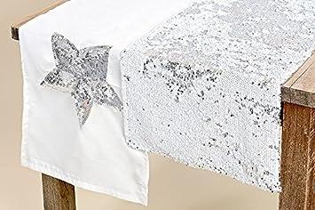 2 Stk Tischlaufer Sterne Pailetten Weiss Grau Glitzer Silber Farben