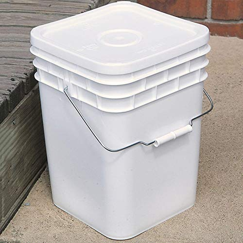 Square Plastic Buckets - 4 Gallon Square Bucket with Lid
