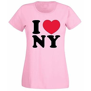 9e3304ffb Womens I Love Heart New York NY T-shirt: Amazon.co.uk: Clothing