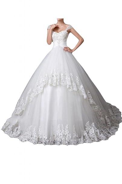 sunvary Gorgeous Retrato Encaje de tul novia fiesta vestidos de boda: Amazon.es: Ropa y accesorios