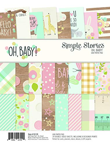 (Simple Stories Oh Baby Paper Pad, Multicolour, 6 x 8 - Inches)