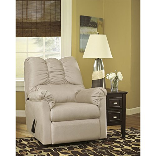 Flash Furniture Signature Design by Ashley Darcy Rocker Recliner in Stone Microfiber - 12' Accent Pillow