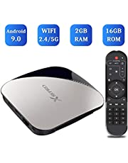 Android 9.0 TV Box, TUREWELL Android Box RK3318 Quad-core 2GB RAM 16GB ROM Support BT 4.2/Dual WiFi 2.4GHz/5GHz/3D/4K/H.265 Smart TV Box