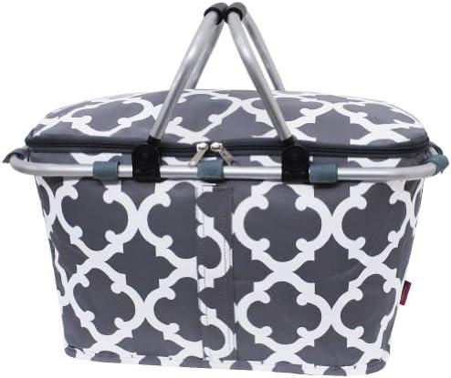 Grey White Geometric Clover Print NGIL Insulated Picnic Basket