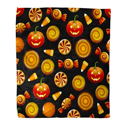 Golee Throw Blanket Orange Pattern Halloween Candy Sweets Corn and Pumpkins on Circle 60x80 Inches Warm Fuzzy Soft Blanket for Bed -