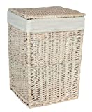 Large Square White Wash Laundry Basket with a White Lining